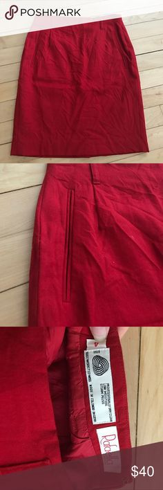 Vintage! Red pencil skirt Vintage size 4 fits size 0/2. Vintage excellent condition, one small pull on back slit as shown in photo. Lining fully in tact. Beautifully crafted and sleek Anthropologie Skirts A-Line or Full