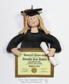BACK-ORDERED  Graduate Bust Ornament by BertsClayCreations on Etsy