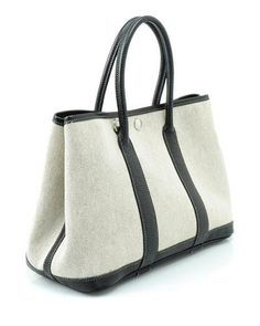 Hemes LU Genuine Leather Trim Tote Bag- Made in France, 8/10 Condition