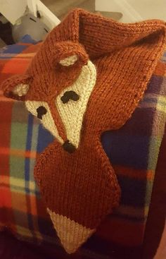 Free Knitting Pattern for Foxy Loxy Scarf - Myjah Conant designed this quick fox scarf made with yarn held double. Edited byMeghan Fournier