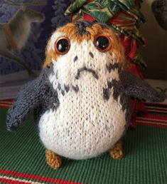 "Free Knitting Pattern for Porg Toy - Inspired by Star Wars: The Last Jedi, this porg is 10"" tall when standing and 8"" when seated. Designed by Angela Villanueva. Pictured project by cascott"