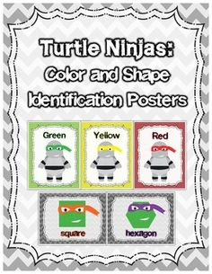 Turtle Ninjas: Color and Shape Identification Posters