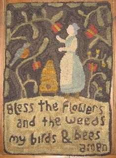 A Gardener's Prayer Rug (crock rug, wool), from Plumrun Creek.