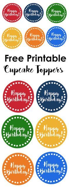 Happy Birthday cupcake toppers free printable. Print these colorful happy birthday cupcake toppers in rainbow colors for a cute birthday party without a theme.