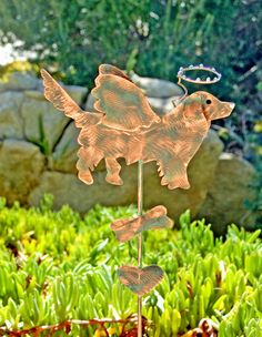 GOLDEN RETRIEVER Pet Memorial Outdoor Garden Stake / Metal Copper Patina  / Lawn Ornament / Grave Marker / Dog Yard Sign / Sculpture by GardenCopperArt on Etsy