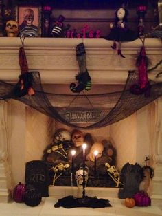 Halloween mantel / fireplace decorations (My fireplace) :):):)