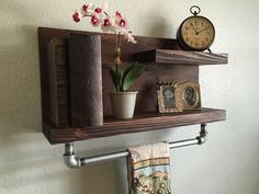 Industrial Rustic wood shelving unit with by TheCraftyMarine