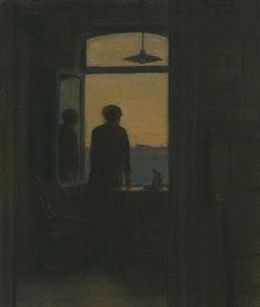 "huariqueje: "" Evening - Maurice Pirenne, 1929 Belgian, Pastel on paper mounted on panel, x 21 cm x 23 cm "" Arte Peculiar, Art Ancien, Aesthetic Art, Dark Art, Oeuvre D'art, Art Inspo, Cool Art, Art Drawings, Illustration Art"