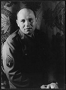 """Romare Bearden, in his army uniform, photograph by Carl Van Vechten. """"Practically all great artists accept the influence of others. But... the artist with vision... by integrating what he has learned with his own experiences... molds something distinctly personal."""" . . . """"Painting and art cannot be taught. You can save time if someone tells you to put blue and yellow together to make green, but the essence of painting is a self-disciplined activity that you have to learn by yourself."""""""