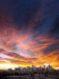 """Denver, Colorado...even our sunrises are orange and blue - this is """"Bronco Country"""""""
