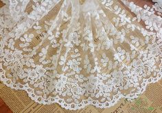 Milk+White+Lace+trim+Flower+Embroidered+Tulle+by+designourlife,+$4.00