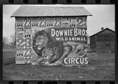 One of the images of signs photographed by Walker Evans. He originally wanted to be a playwright He started getting into photography and it became his profession. In 1935, the Resettlement Agency (which became the Farm Security Administration) offered Evans a job and a camera to photograph small-town life during the Depression. In 1936, he took a three-week leave to travel with the writer James Agee and document the life of Southern tenant farmers for Fortune magazine