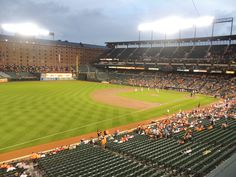 Oriole Park at Camden Yards. The warehouse is the former warehouse for the B&O Railroad