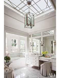 A Colonial Revival Residence in California Provides the Perfect Homebase for a Young Family - Architectural Digest Small Bathroom, Master Bathroom, White Bathrooms, Bathroom Ideas, Bathroom Vanities, Bathroom Organization, Organization Ideas, Bathroom Canvas, Tiny Bathrooms