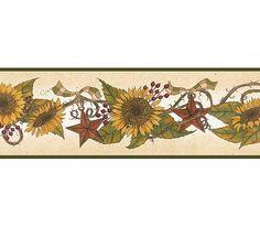 Interior Place   Green Sunflower Garland Wallpaper Border, $20.40  (http://www