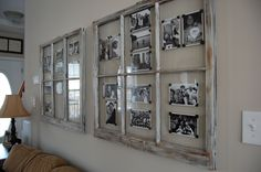use old window frames and photo corners to create a rotating display of photos. … use old window frames and photo corners to create a rotating display of photos. using black white images creates a cohesive grouping. Vintage Windows, Old Windows, Vintage Window Decor, Antique Windows, Wooden Windows, Casement Windows, House Windows, Old Window Projects, Home Projects