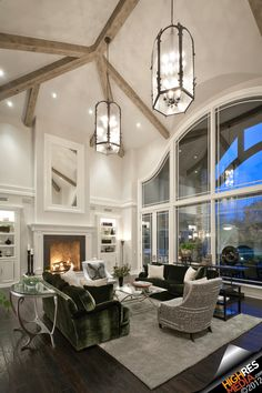 Luxury living room with fireplace - Scottsdale,AZ