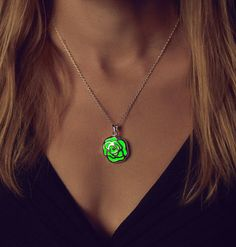 Rose Glow in the Dark Necklace Green Glow Necklace by EpicGlows