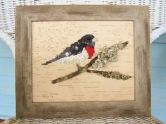 Button Art Rose Breasted Grosbeak Wall Hanging on by niknakia