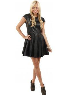 Urbancode Soft Black Leather Fit & Flare Skater Dress