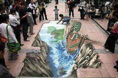 3 Amazing Graffiti Artists: Street Painting and Sidewalk Chalk Art 3d Street Art, 3d Street Painting, Amazing Street Art, Street Art Graffiti, Street Artists, Amazing Art, Amazing Drawings, Awesome, Graffiti Artists
