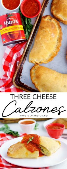 This Homemade Three Cheese Calzones Recipe makes 6 large calzones. Theyre filled with ricotta mozzarella Parmesan and fresh herbs. They have the most delicious dipping sauce too! Easter Dinner Recipes, Healthy Dinner Recipes, Appetizer Recipes, Dessert Recipes, Appetizers, Cheese Calzone Recipe Ricotta, Homemade Calzone, Crockpot Recipes, Cooking Recipes