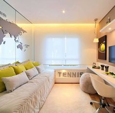 """573 curtidas, 7 comentários - Inspirações de Decoração (@decordaka) no Instagram: """"Quarto para um jovem amante do Tennis, com um ar contemporaneo e clean a disposição dos móveis…"""""""