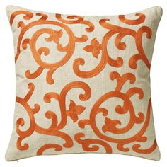 Adorned with a striking embroidery in Apricot, our Chiara Cushion Cover will introduce an eye-catching pop of colour and pattern into your scheme. 100% cotton base with machine embroidery. Plain backed. A smaller size is also available. Pad sold separately.