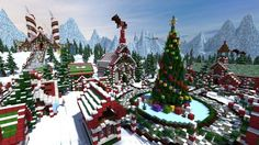 Santa's Gingerbread Christmas City Cool Minecraft Creations, Cute Minecraft Houses, Minecraft Garden, Minecraft Plans, Minecraft City, Amazing Minecraft, Minecraft Construction, Minecraft Tutorial, Minecraft Blueprints