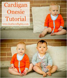 Feather's Flights {a creative, sewing blog}: Baby Cardigan Onesie Tutorial created for purchased long sleeve onsies.