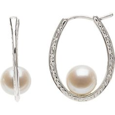 Sterling Silver Freshwater White Pearl Post Earrings