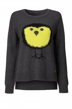 Set Grey Sweater with Yellow Bird Motif