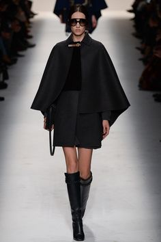 Valentino F/W 2014, black cape, knee high boots, sunglasses