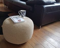 NEW! Ivory/ beige color Pouf 16'' - pouffe- Footstool Pouf - Bean Bag Chairs- Crochet Floor Cushions - Kids Furniture - Ottoman