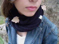 Black scarf in soft wheat,Hand knitted warmer,scarf necklace,scarf infinity, cowl scarf.