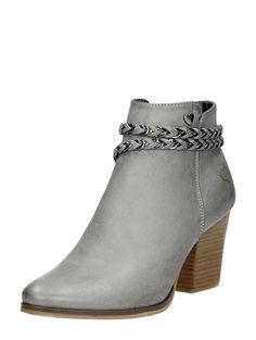 Elegante enkellaarzen met hak en riempje van Fabs - grijs