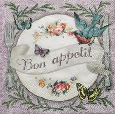 Set of 2 pcs 3-ply ''Bon appetit'' paper by MSNapkinsSupply