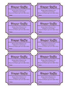 Diaper Raffle Ticket - Be creative and make these raffle tickets ...