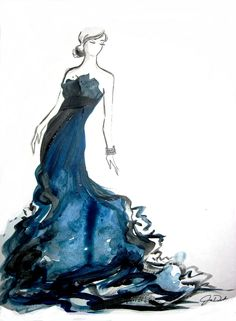 Watercolor Fashion Illustration - McQueen Moment One of my older fashion illustrations, Black and Blue. Created this inspired by something I. Art And Illustration, Watercolor Fashion, Watercolor Artwork, Watercolor Dress, Fashion Painting, Painting Art, Fashion Sketches, Fashion Illustrations, Fashion Drawings