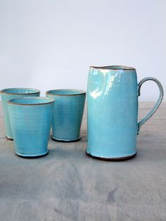 turquoise pitcher water pitcher ceramic pitcher by FreshPottery