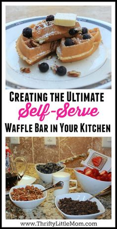 Creating the ultimate self-serve waffle bar in your kitchen!  If you are having guests over or want to create your own family holiday traditions try creating this simple self-serve waffle bar!