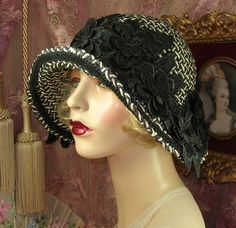 1920'S STYLE VINTAGE BLACK & CREAM 3D FLORAL CLOCHE FLAPPER HAT #PatriciaJosephineAntiqueStyleDesign