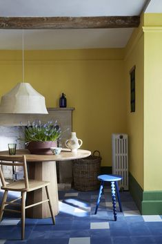 Little Greene Paint Company, Yellow Dining Room, British Architecture, Natural Flooring, Yellow Interior, Luxury Wallpaper, Take A Seat, Interior Inspiration, Colour Inspiration