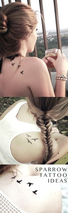 Sparrow Back of Shoulder Tattoo Ideas for Women - Small Meaningful ideias de tatuagem - Feminine idées de tatouage - www.MyBodiArt.com