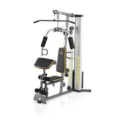 Get full-body strength training at home with the Gold's Gym XR 55 home gym system. The weight stack offers up to 330 pounds of resistance for a variety of strength training exercises. Home Gym Garage, Diy Home Gym, Gym Room At Home, Best Home Gym Setup, Home Gym Basement, Basement Ideas, Workout Room Home, Home Workout Equipment, Workout Rooms