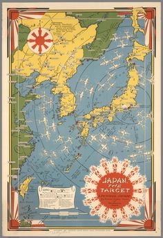 MapCarte Japan, the target: a pictorial Jap-map by Ernest Dudley Chase, 1942 Old Maps, Antique Maps, Vintage Wall Art, Vintage Walls, Pearl Harbor Map, Pictorial Maps, Art Carte, Map Globe, Japan