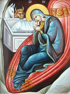 Λεπτομέρεια της Γέννησης Religious Icons, Religious Art, Russian Icons, Jesus Art, Biblical Art, Byzantine Art, Holy Mary, Blessed Virgin Mary, Sacred Art