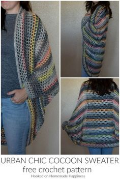 [sc Urban Chic Cocoon Sweater Crochet Pattern – I really enjoy making cocoon sweaters. They're super easy to make and there are endless possibilities. Trust me when I say, any crocheter can make this Urban Chic Cocoon Sweater Crochet… Continue Reading → Crochet Coat, Crochet Cardigan Pattern, Crochet Jacket, Crochet Shawl, Crochet Clothes, Crochet Shrugs, Crochet Sweaters, Bolero Pattern, Crochet Dresses