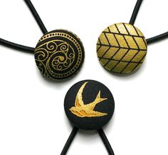 LUX Black and Gold Set of Three Large Covered Button Hair Ties