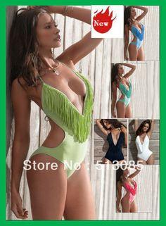 aed5e45e54 Hot Free shipping New Sexy Tassel Padded Monokini Siamese Fringe Bikini For  Women